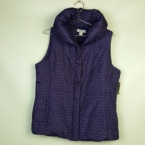 Coldwater Creek Puffy Collar Print Vest Purple M